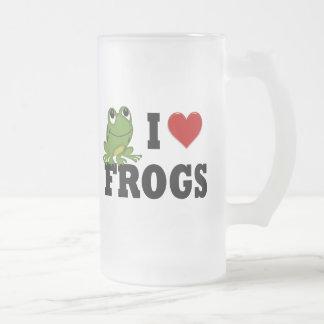 Amo ranas taza cristal mate