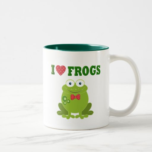 Amo ranas taza de café de dos colores