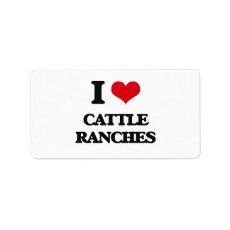 Amo ranchos de ganado etiqueta de dirección