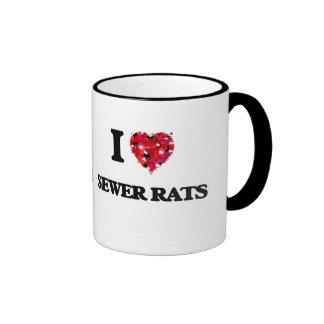Amo ratas de alcantarilla taza a dos colores