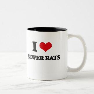 Amo ratas de alcantarilla taza dos tonos