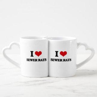 Amo ratas de alcantarilla taza para enamorados