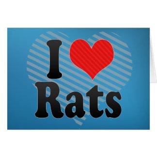 Amo ratas tarjeta de felicitación