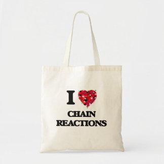 Amo reacciones en cadena bolsa tela barata