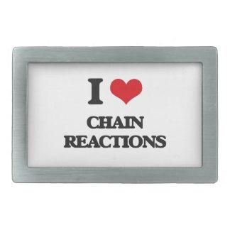 Amo reacciones en cadena hebillas de cinturón rectangulares