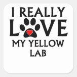 Amo realmente mi laboratorio amarillo calcomanía cuadradas personalizada