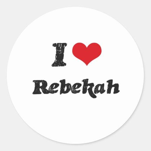 Amo Rebekah Pegatina Redonda