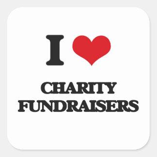 Amo recaudadores de fondos de la caridad pegatina cuadrada