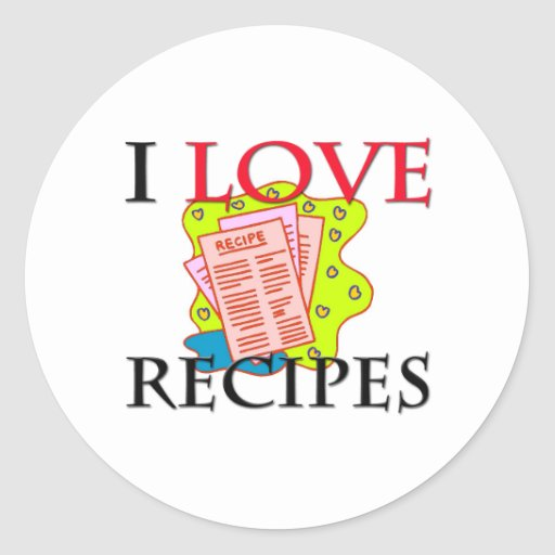 Amo recetas pegatina redonda