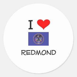 Amo Redmond Utah Pegatina Redonda