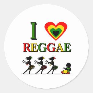 Amo reggae pegatina redonda