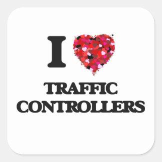 Amo reguladores del tráfico pegatina cuadrada