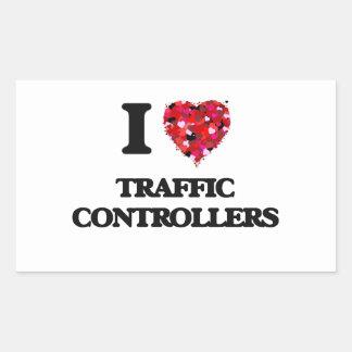 Amo reguladores del tráfico pegatina rectangular