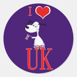 amo Reino Unido Etiqueta Redonda
