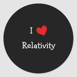 Amo relatividad pegatina redonda