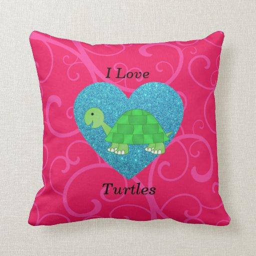 Amo remolinos del rosa de las tortugas cojin