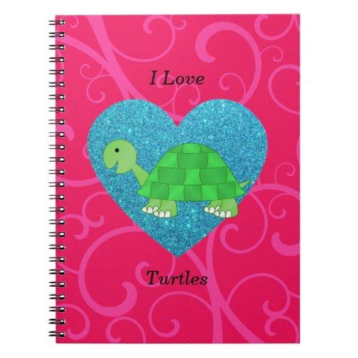 Amo remolinos del rosa de las tortugas libros de apuntes con espiral