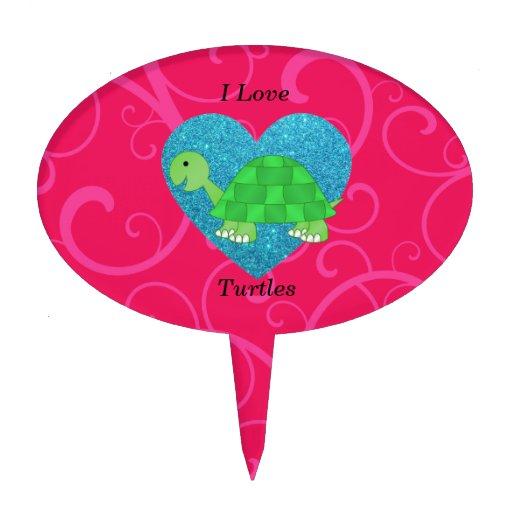 Amo remolinos del rosa de las tortugas decoraciones para tartas