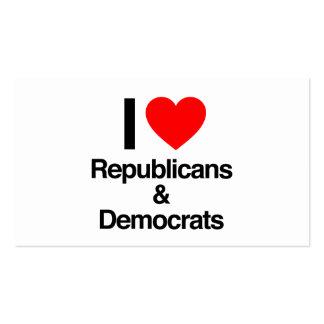 amo republicanos y a demócratas plantilla de tarjeta personal