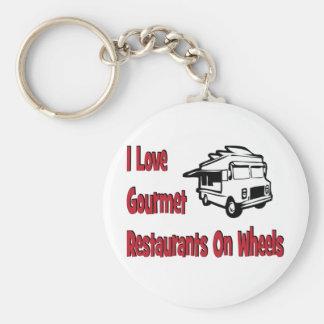 Amo restaurantes gastrónomos en las ruedas llavero personalizado