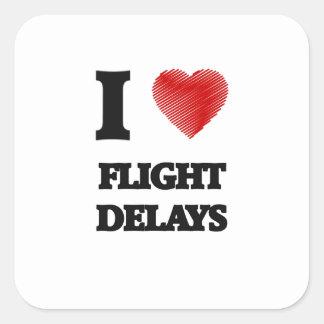 Amo retrasos de vuelo pegatina cuadrada