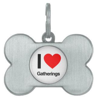 amo reuniones placa de nombre de mascota