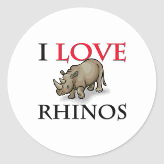 Amo Rhinos Etiqueta Redonda