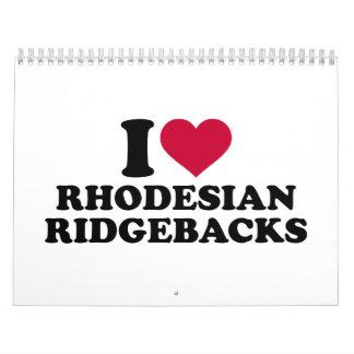 Amo Rhodesian Ridgebacks Calendario De Pared