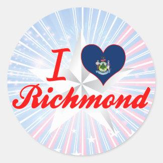Amo Richmond, Maine Pegatina Redonda