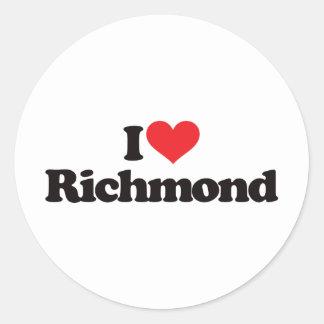 Amo Richmond Pegatina Redonda