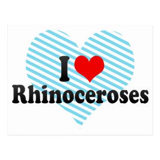 Amo rinocerontes tarjetas postales