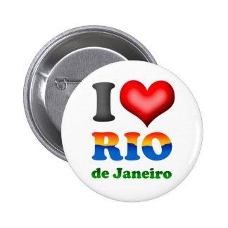 Amo Río de Janeiro, el Brasil la ciudad maravillos Pin Redondo De 2 Pulgadas