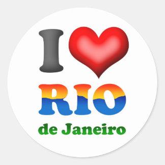 Amo Río de Janeiro, el Brasil la ciudad Pegatina Redonda