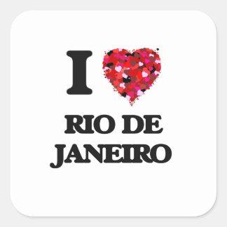 Amo Río de Janeiro el Brasil Pegatina Cuadrada