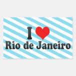 Amo Río de Janeiro, el Brasil Pegatina Rectangular
