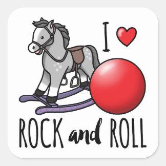 Amo rock-and-roll pegatina cuadrada