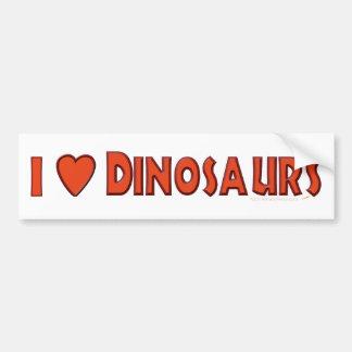 Amo (rojo del amante del dinosaurio de los dinosau pegatina para auto