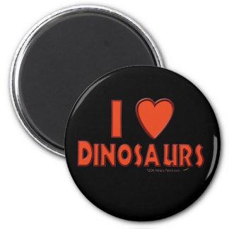 Amo (rojo del amante del dinosaurio de los dinosau imán redondo 5 cm