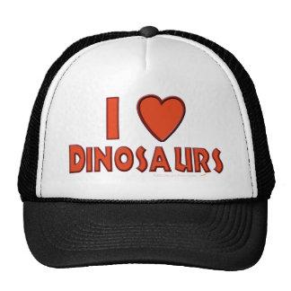 Amo (rojo del amante del dinosaurio de los gorras de camionero