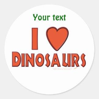 Amo (rojo del amante del dinosaurio de los pegatina redonda