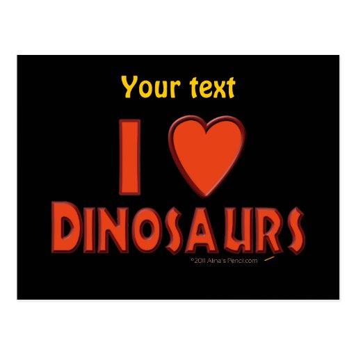 Amo (rojo del amante del dinosaurio de los tarjetas postales