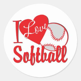 Amo rojo del softball pegatina redonda