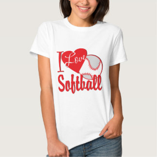 Amo rojo del softball playeras