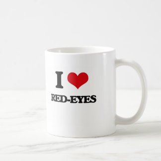 Amo Rojo-Ojos Taza Básica Blanca