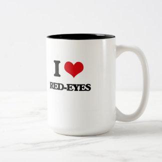 Amo Rojo-Ojos Taza Dos Tonos