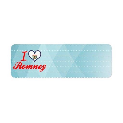Amo Romney, Virginia Occidental Etiquetas De Remite