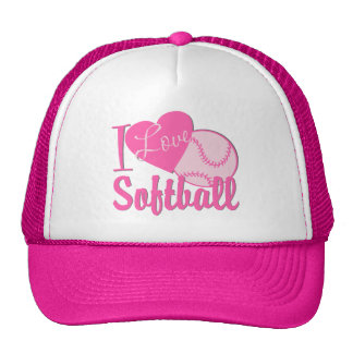 Amo rosa del softball gorro de camionero