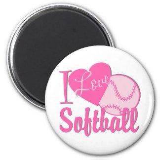 Amo rosa del softball imán redondo 5 cm