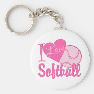 Amo rosa del softball llaveros