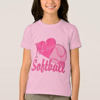 Amo rosa del softball remeras